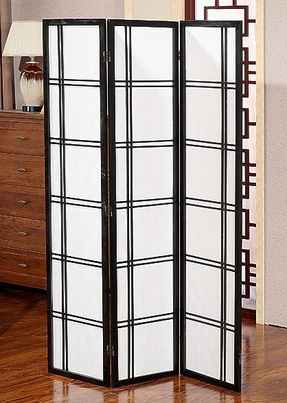 Amazon.com: Oriental 3 Panel Room Divider, Decorative Office Shoji ...
