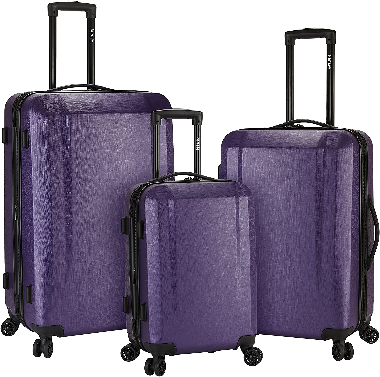 kensie Women's Victoria Hardside Smart USB Port Expandable Dual Spinner Luggage, Purple, 3-Piece Set (20/24/28)