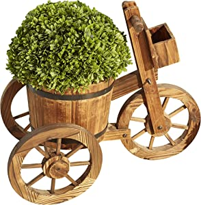 LOKATSE HOME Wooden Barrel Tricycle Planter Wagon Home Garden Outdoor Decor, Brown