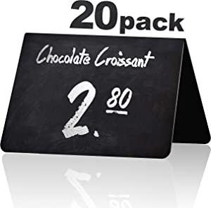20 Pack Rustic Tent Style Mini Chalkboard Signs - Chalk Sign - Easy to Write and Wipe Out - for Liquid Chalk Markers and Chalk - Food Labels for Party - Small Chalk Boards Signs for Food