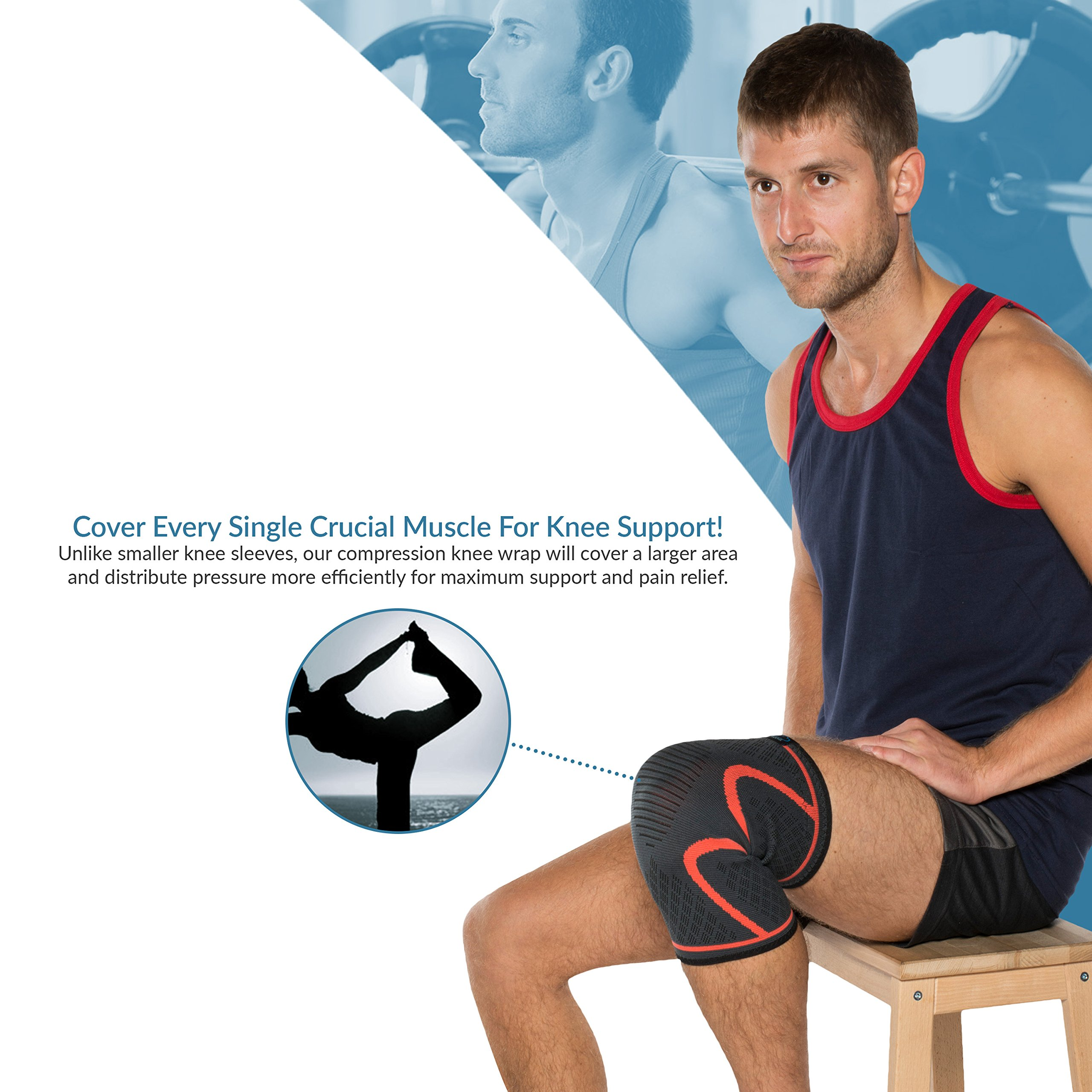 Modvel Compression Knee Sleeve (1 Pair) - Ultra Flexible, Comfortable Knee Brace for Men and Women, Great for All Athletics, Volleyball, ACL, Stabilizer for Arthritis and Knee Pain Relief, M (MV-111) by Modvel (Image #5)