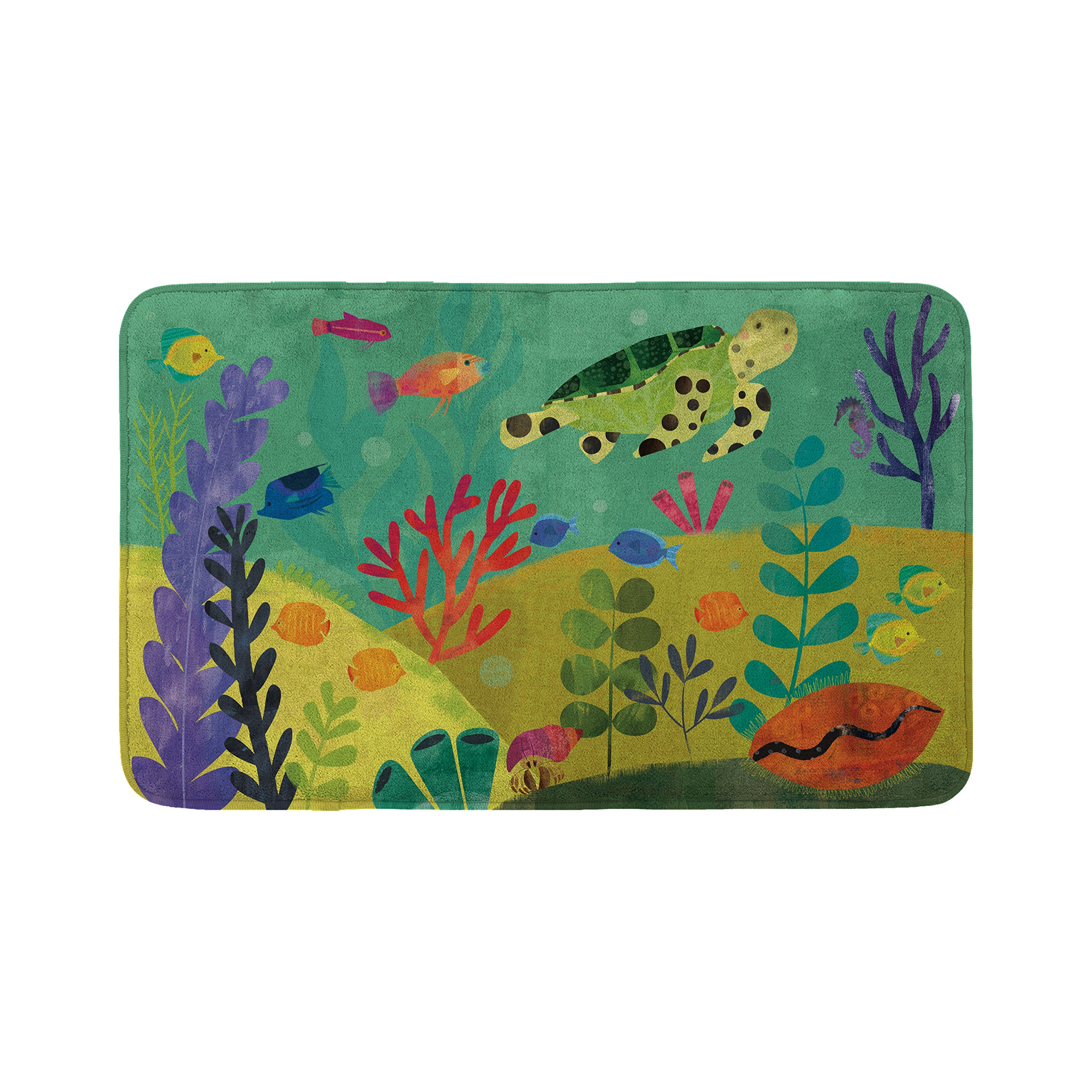 Mouse + Magpie Bath Mat, Skid-Proof, Memory Foam, Soft, Quick-Dry Microfiber, 31''x19'' for Toddler, Kid, Child Bathroom, Sea Turtle Reef