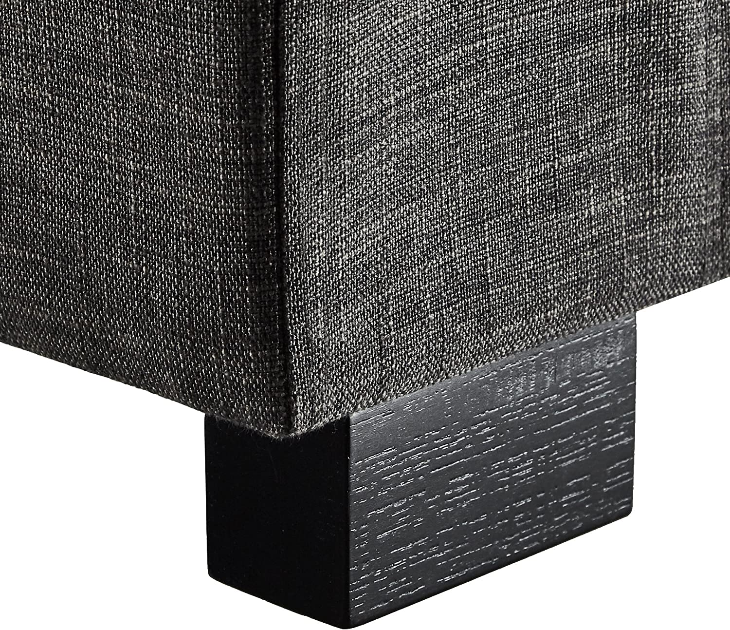 First Hill Calida Rectangular Storage Ottoman Bench with Fabric Upholstery, Large - Anchor Grey: Kitchen & Dining