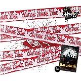 TK Group Timo Klingler 1x Cinta de Barrera Bloody Barrier Band 6.1 Metros como decoración Decoración en Halloween Fiesta de Halloween Precaución Zombie Zone