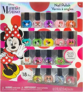 Townley Girl Disney Minnie Mouse Non-Toxic Peel-Off Nail Polish Set for Girls, Glittery and Opaque Colors, Ages 3+ (18 Pack)