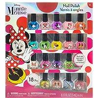 Minnie Mouse - Juego de esmaltes de uñas para niñas, lavables, muy brillantes,