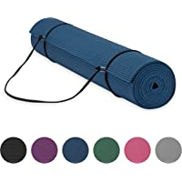 """Gaiam Essentials Premium Yoga Mat with Yoga Mat Carrier Sling (72""""L x 24""""W x 1/4 Inch Thick), Mat, 05-63314, Navy, 6mm"""