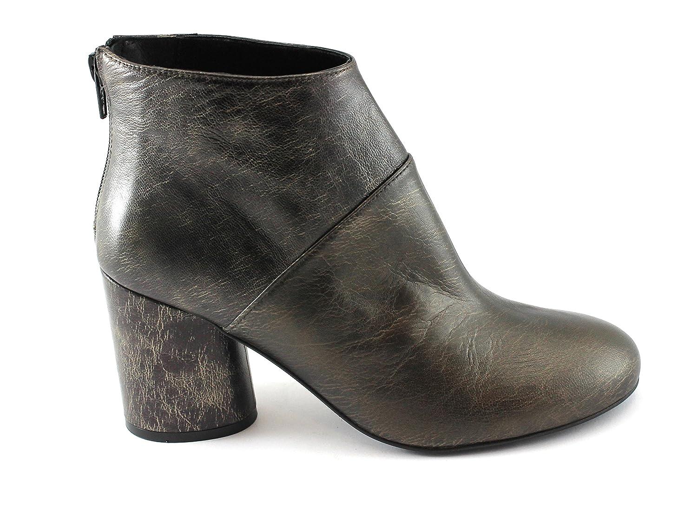 Sapena 32992 Bronze-Metallic-Absatzschuhe Stiefel Frau Leder Reißverschluss