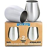 Stainless Steel Wine Glasses - Set of 2 Large & Elegant Stemless Goblets (18 oz) - Unbreakable, Shatterproof Metal Drinking Tumblers