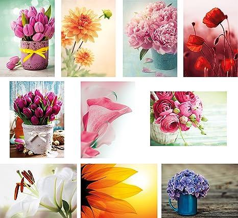 20 Fiore Cartoline Im Set 10 Motivi Ciascuno Con 2
