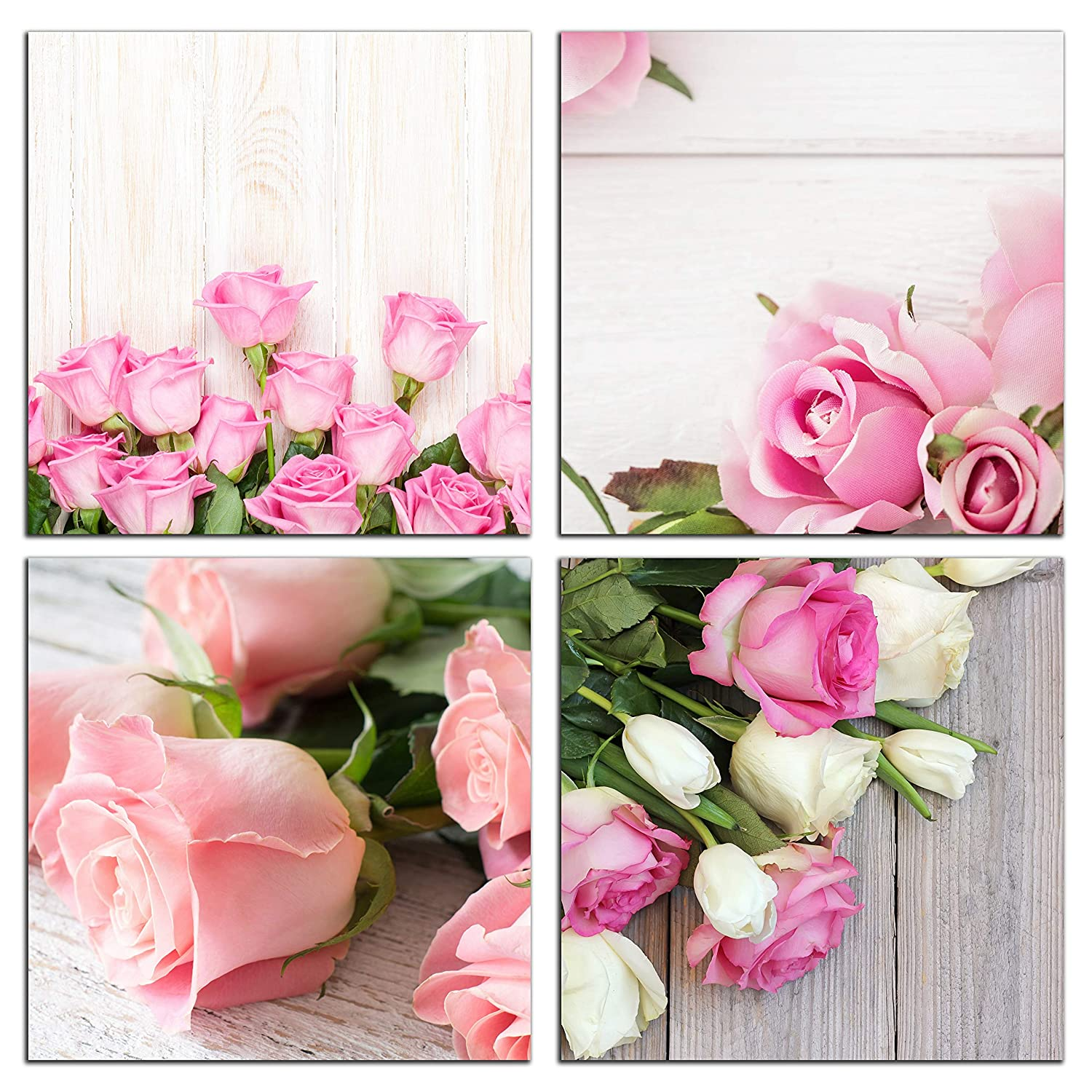 NAN Wind Modern 4 Piece Canvas Print Wall Art Painting for Home Decor Floral Still Life of Pink Rose Flower in The Table Picture Paintings for for Home Decor Valentine