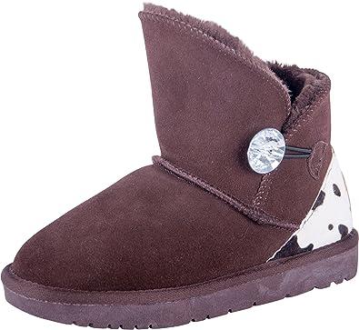 check out cf992 16533 Almwerk Damen Winter-Stiefel Boots kurzschaft aus Echtleder warm gefüttert  mit Fell in braun und schwarz