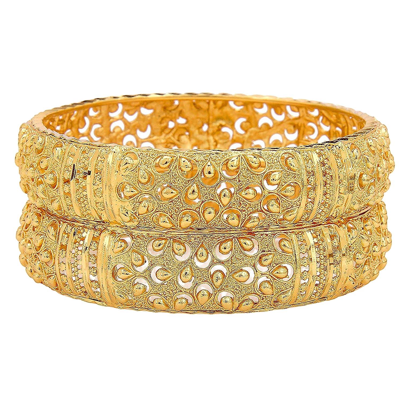 d27c97d9b89 Mansiyaorange Traditional Fancy Designer Casual Party Hand Work One Gram  Gold Bangles for Women