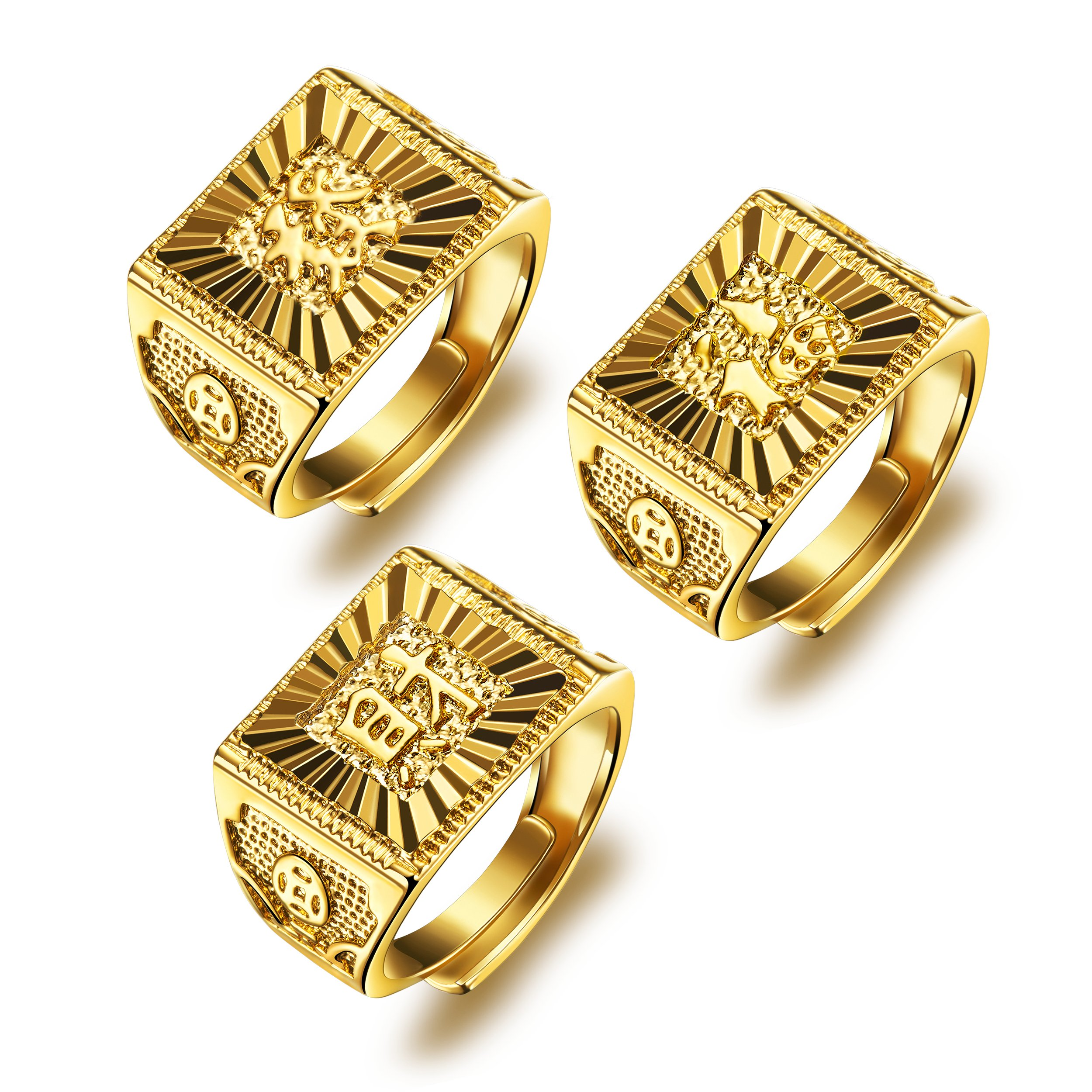 Men's Gold Ring 18K Gold Plated Luxurious Shiny DO NOT FADE ''GOLDEN RICH'' Ring Size Adjustable (Gold Ring 3PCS)