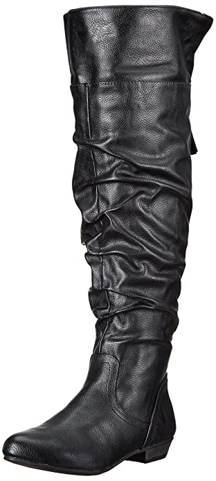 Fergalicious Women's Rookie Wide Calf Slouch Boot, Black, 7.5 M US