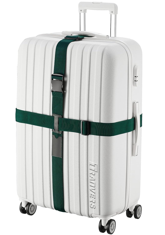 TRANVERS Heavy Duty Cross Luggage Strap Belt For Suitcase Baggage Travel Strap Dark Green C6122.02DK.GRN