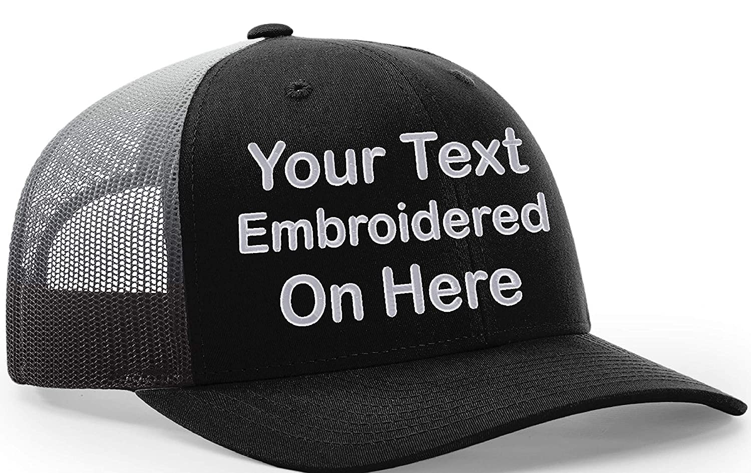 b5425be3b98e5 Amazon.com  Custom Richardson 112 Hat with Your Text Embroidered Trucker  Mesh Snapback Cap  Clothing