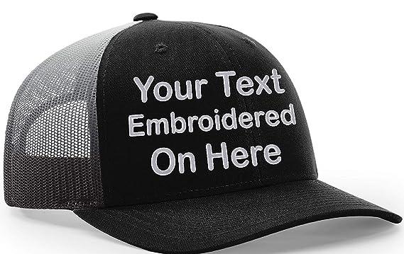 d23e92d76de65 Custom Richardson 112 Hat with Your Text Embroidered Trucker Mesh Snapback  Cap (Adjustable Snapback 112PM