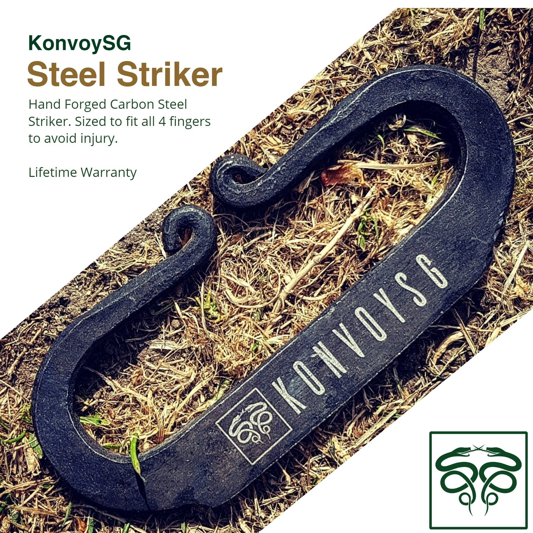 KonvoySG Flint and Steel Kit. Fire Striker, English Flint Stone & Char Cloth Traditional Hand Forged Fire Starter with a Leather Gift Pouch and Emergency Tinder Jute Bag (Black) by KonvoySG (Image #3)