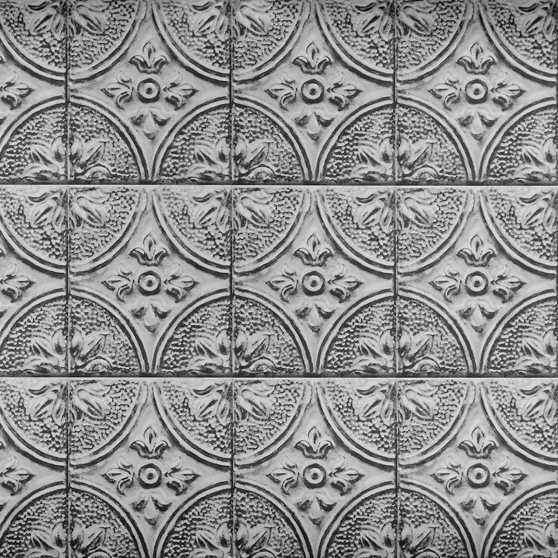 Brewster BHF2774 Silver Faux Tin Tile Peel and Stick Backsplash