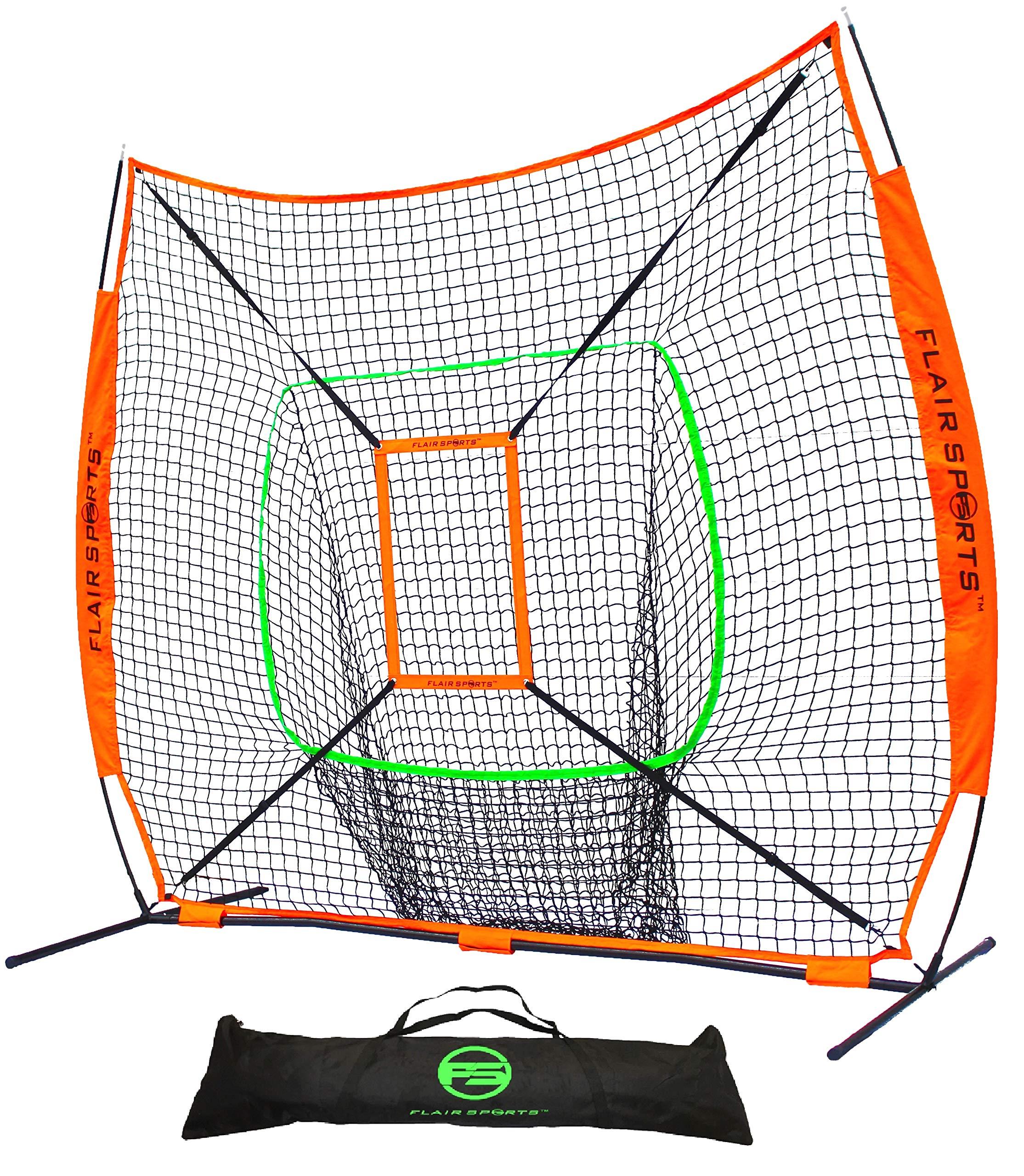 Flair Sports Baseball & Softball Net for Hitting & Pitching | Heavy Duty 7x7 Pro Series | Indoor & Outdoor Training Net | Bow Frame + Bonus Strike Zone Included (Neon Orange, Neon Green)