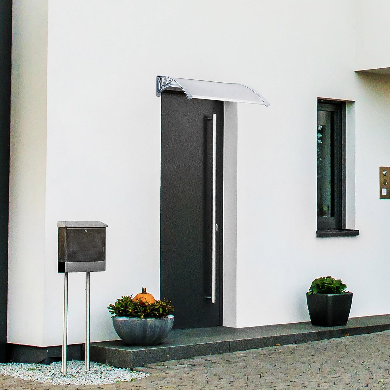 Elegant Eingangsüberdachung L Form Foto Von Relaxdays Vordach Tür, Kunststoff, Aluminium, Pultbogenvordach, Hxbxt: