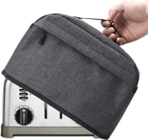 VOSDANS 4 Slice Toaster Cover with Zipper & Open Pockets Kitchen Small Appliance Cover with Handle, Dust and Fingerprint Protection, Machine Washable, Dark Grey (Patent Design)