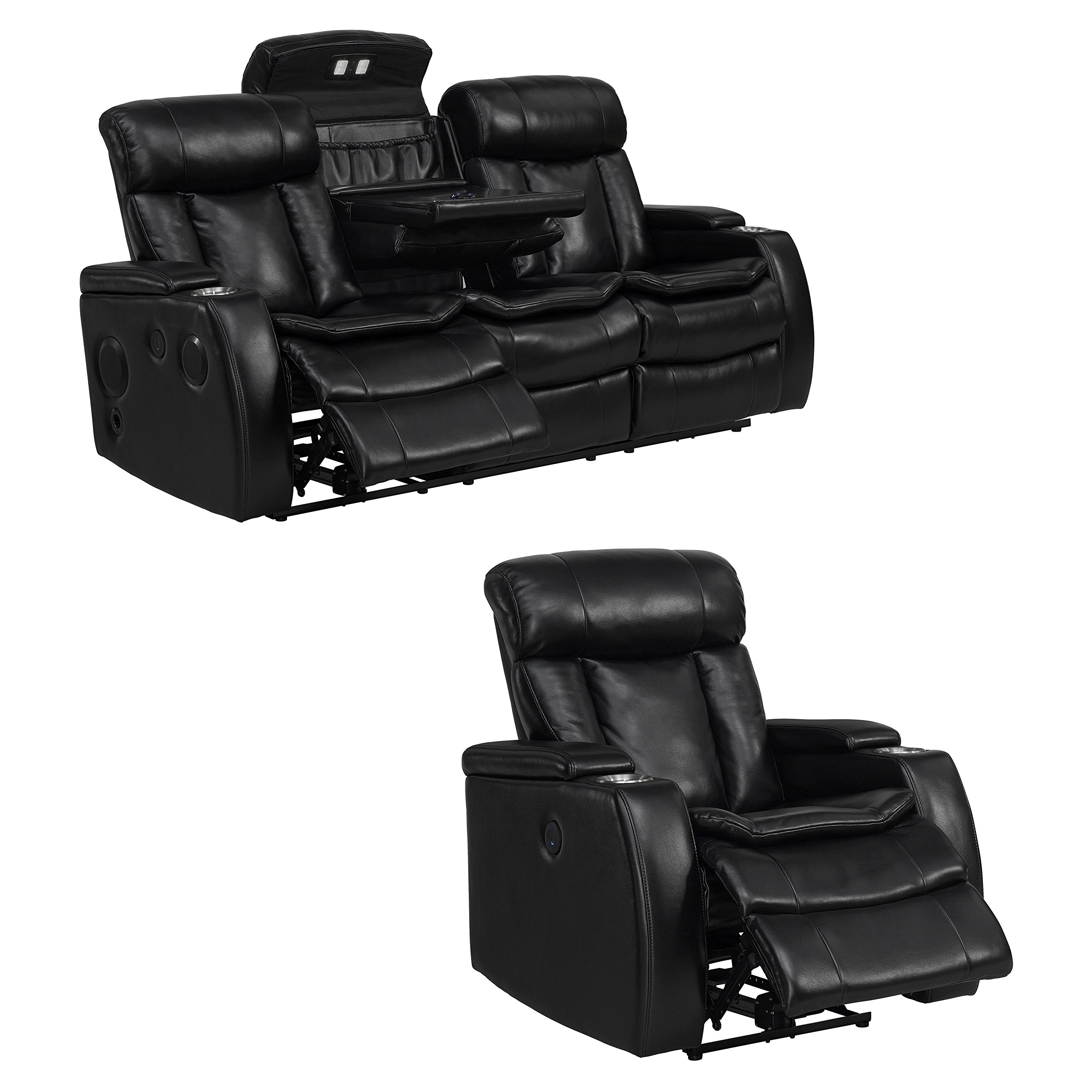 Sofaweb.com Inc. Smart Tech Bluetooth Power Reclining Black Sofa and Recliner Chair