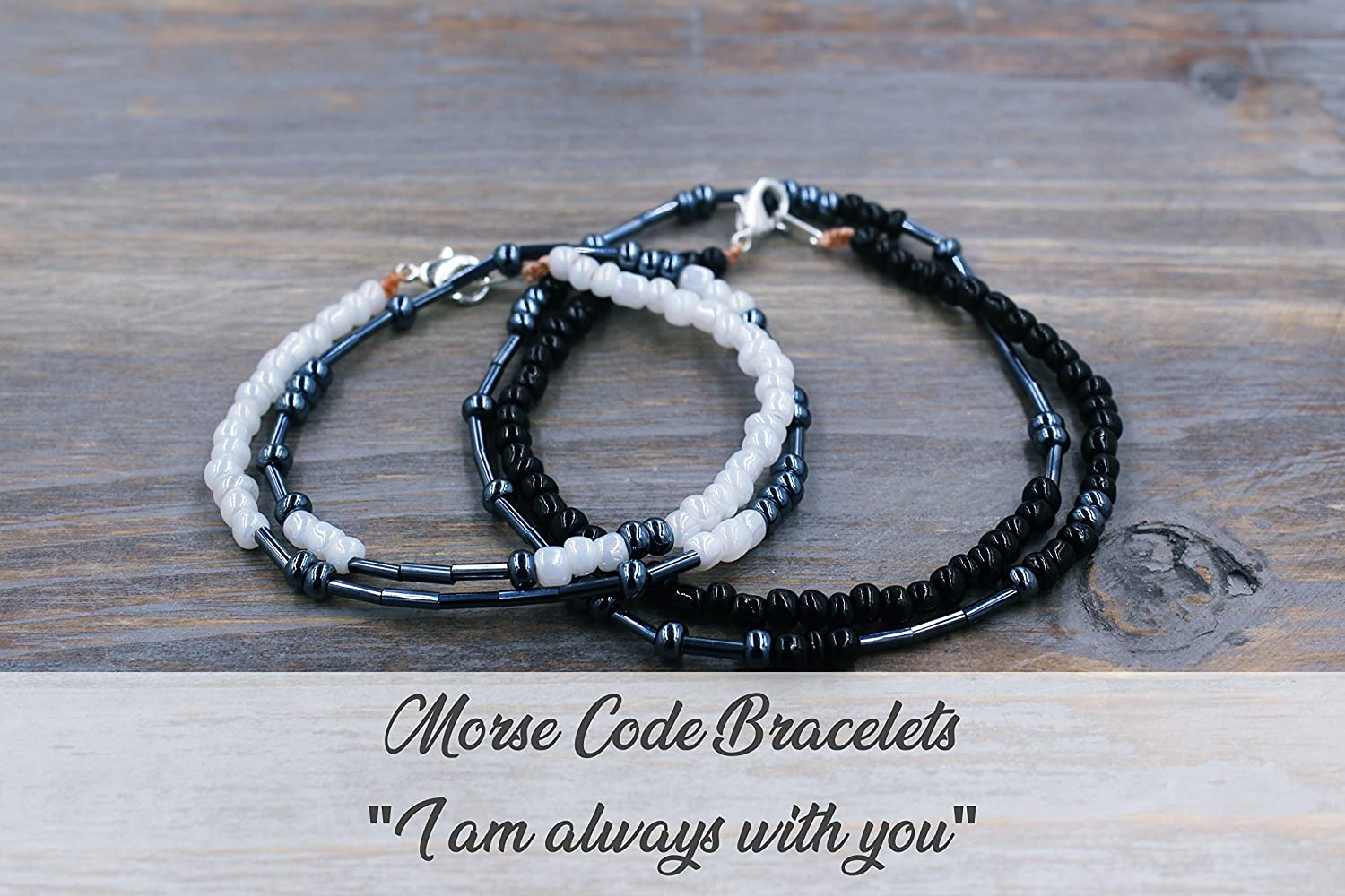 Matching Bracelets for Couples - Long Distance Relationship Gifts for Couples - Matching Boyfriend Girlfriend Jewelry - Matching Couples Gifts I am always with you