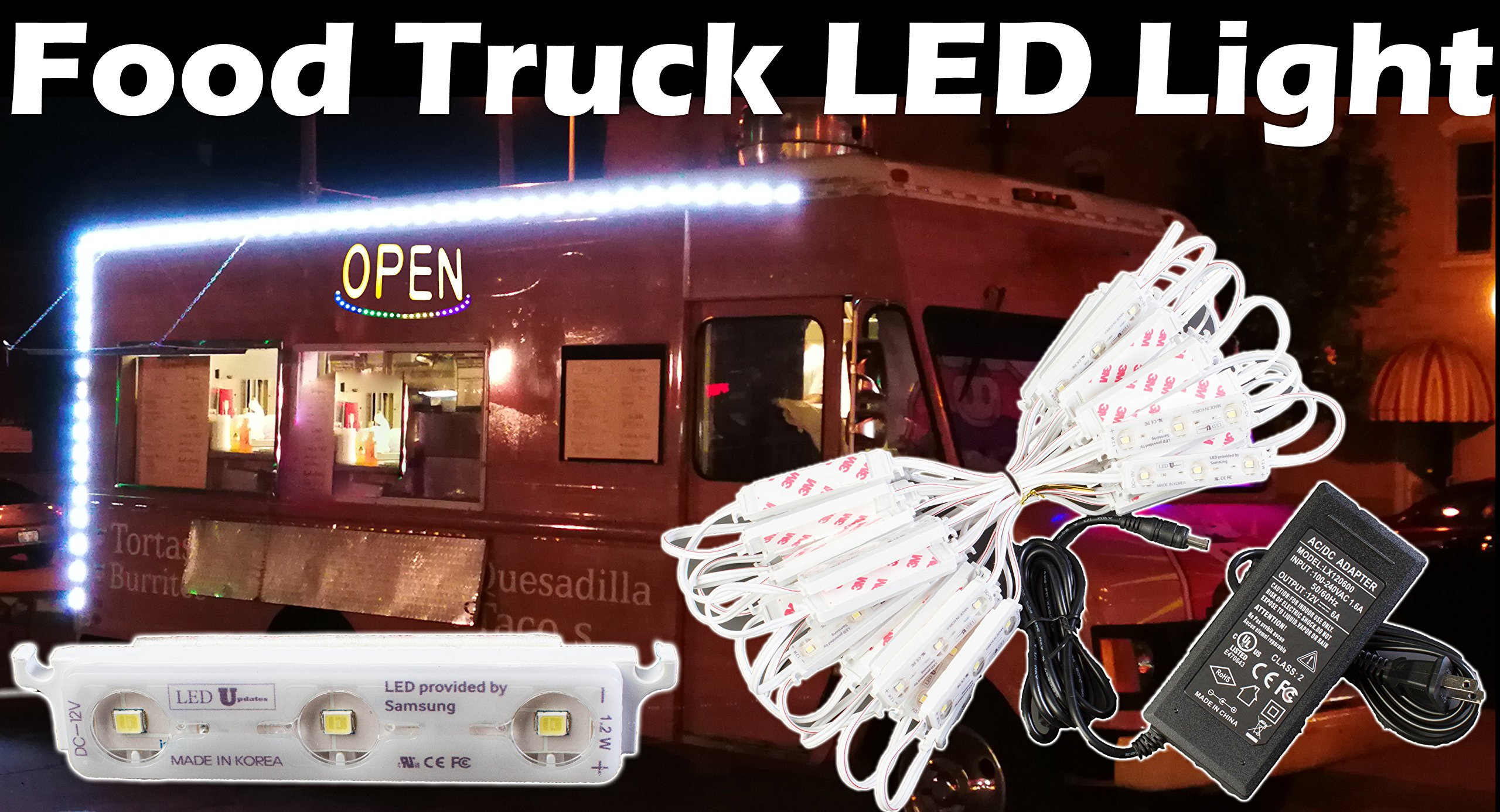 LEDUPDATES PREMIUM FOOD TRUCK LED LIGHT 25ft with UL Listed Power Supply for Trailer, Food Carts, Contractor Van, Bike or any 12v Utility vehicle