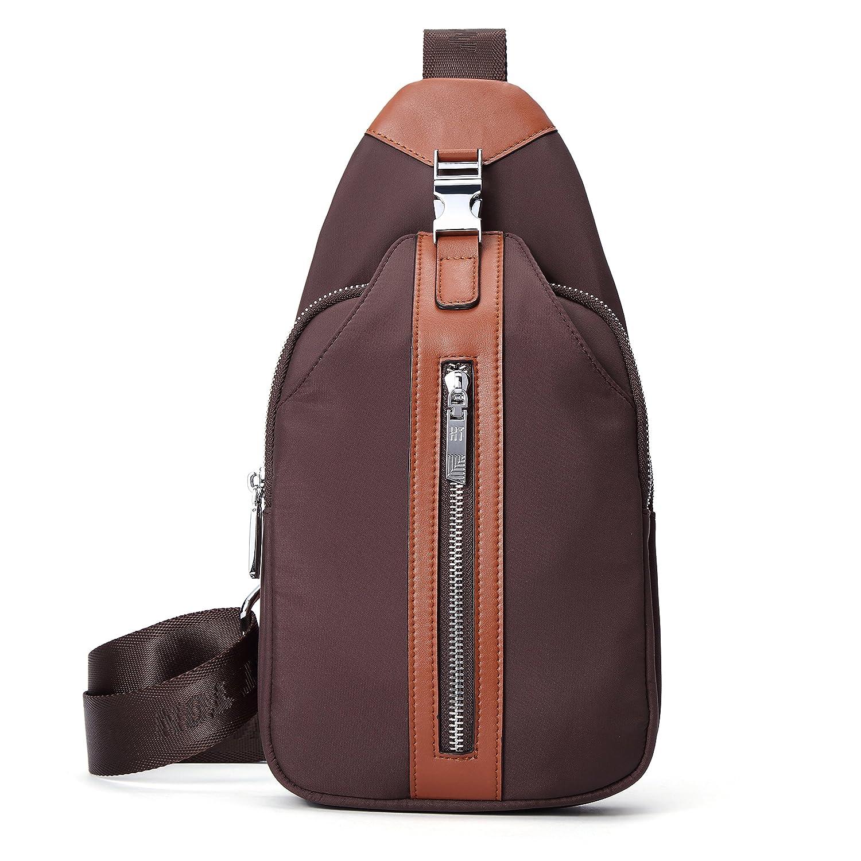 54e5d267cf AIAIMEI Homme Sac bandoulière Petit Sacoche Cuir Sac épaule Vintage Besace  Messager pour Chest Bag Sport Rétro Outdoor Voyage
