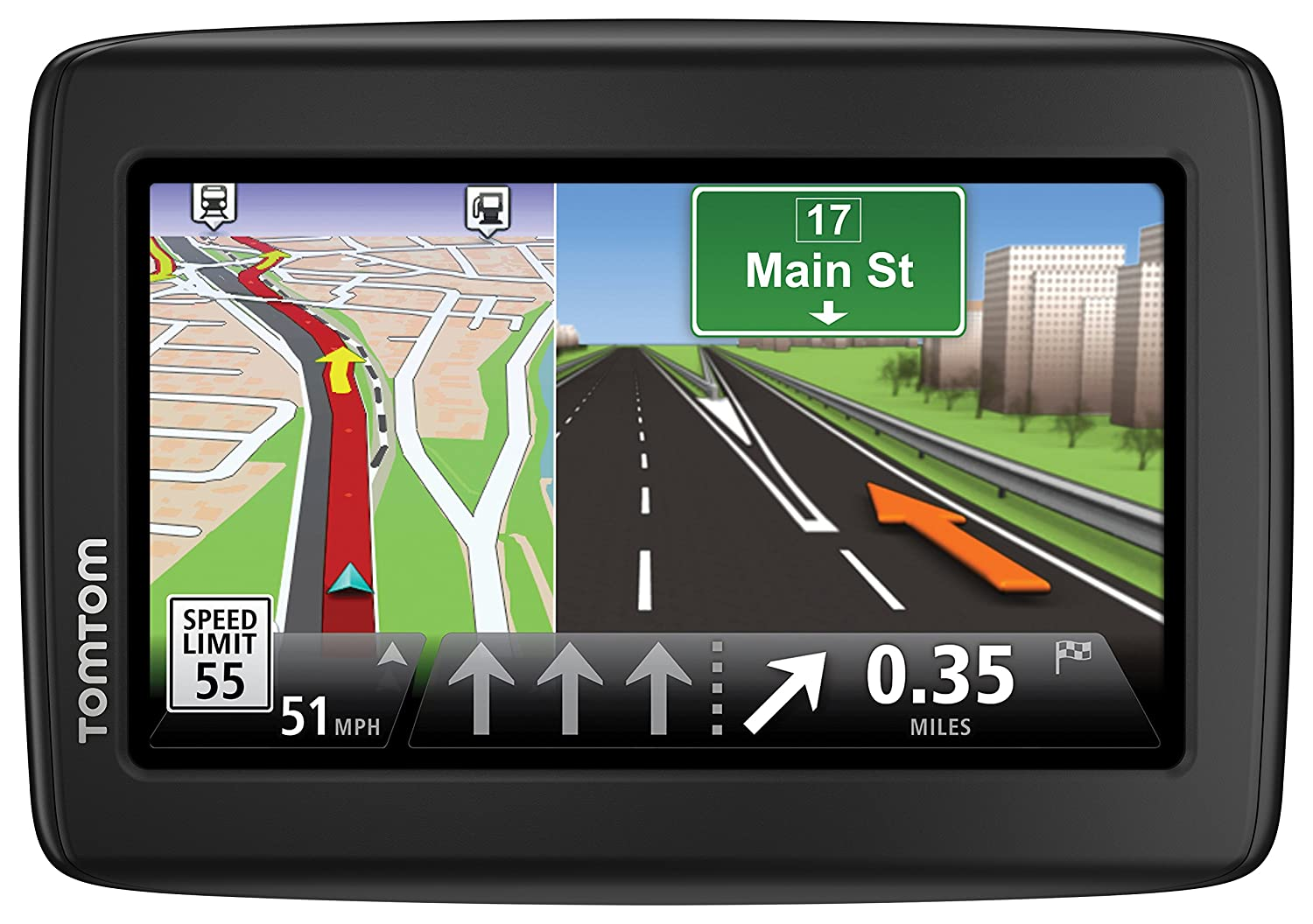 Amazon com tomtom via 1625tm 6 inch portable touchscreen car gps navigation device lifetime traffic and map updates cell phones accessories