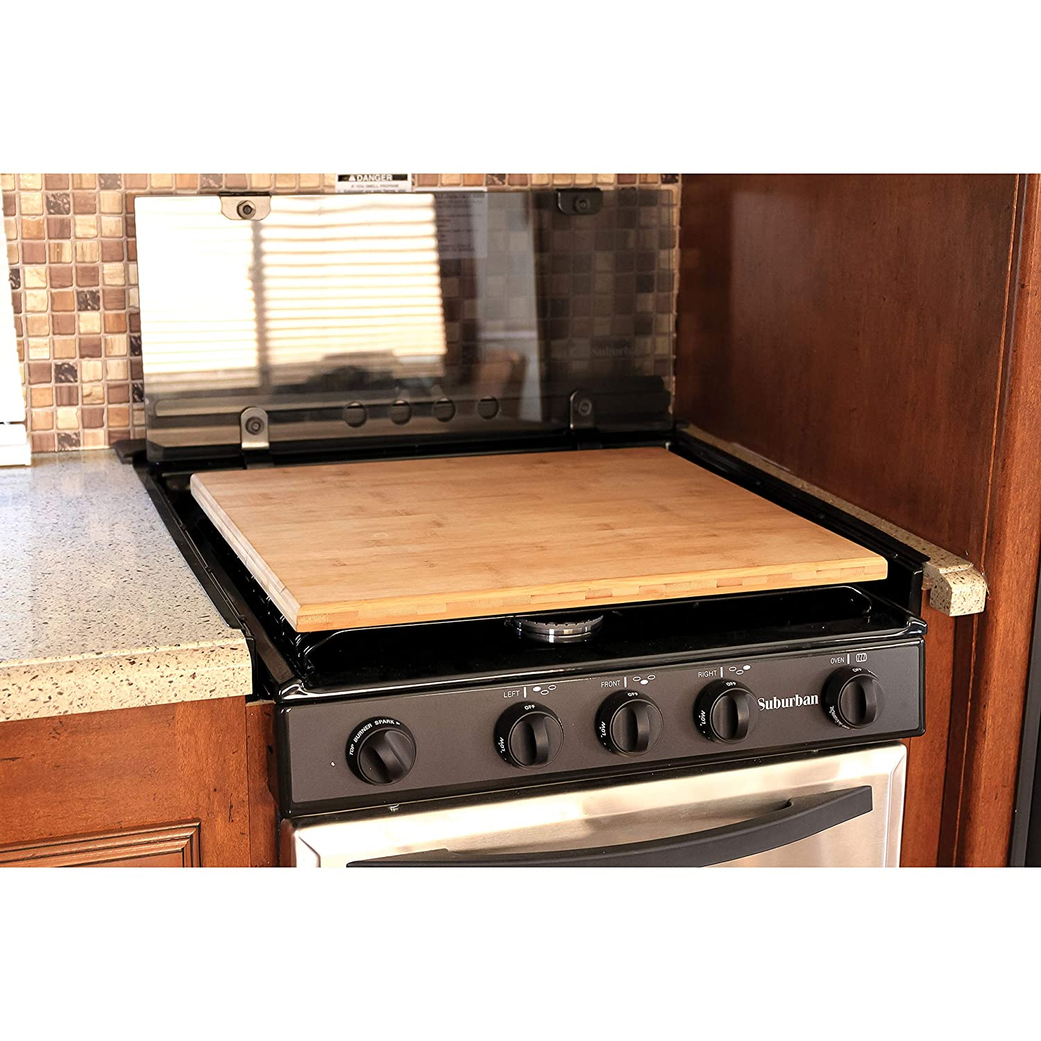 Camco 43571 Stove Cover Bamboo Silent Top