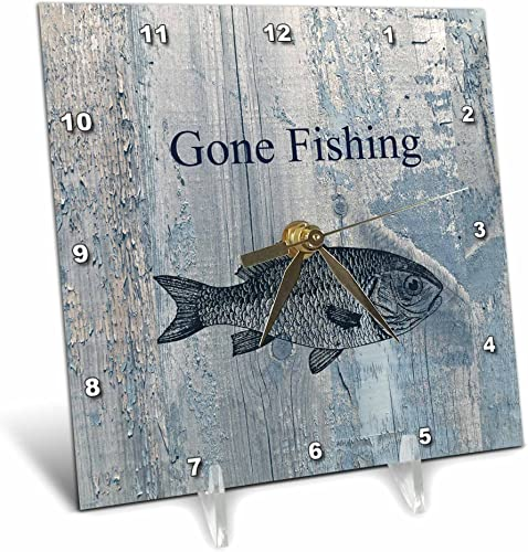 3dRose dc_123416_1 Gone Fishing White Wash Wood Look Beach Theme Art Desk Clock, 6 by 6-Inch