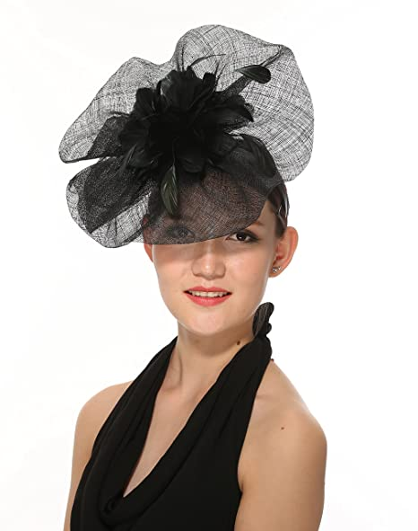 8ff0f0498ae ray daniel Newest Women s Large Sinamay Fascinator Headband Cocktail Hat 7  Colors Available (Black)