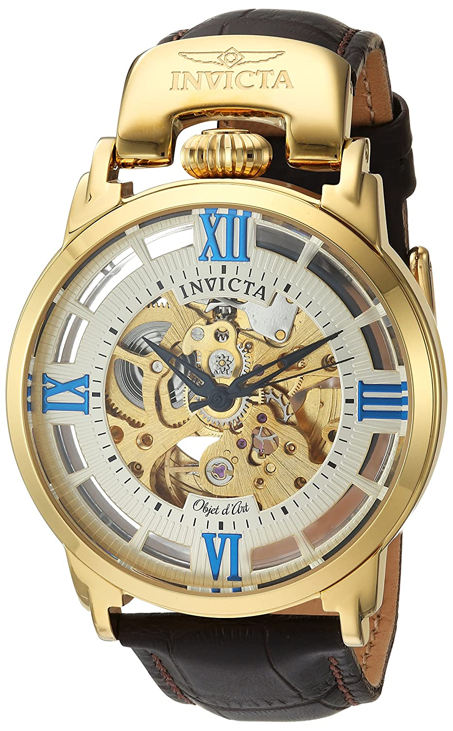 Invicta Men s Objet d Art Automatic Stainless Steel and Leather Casual Watch, Color Black Model 22614