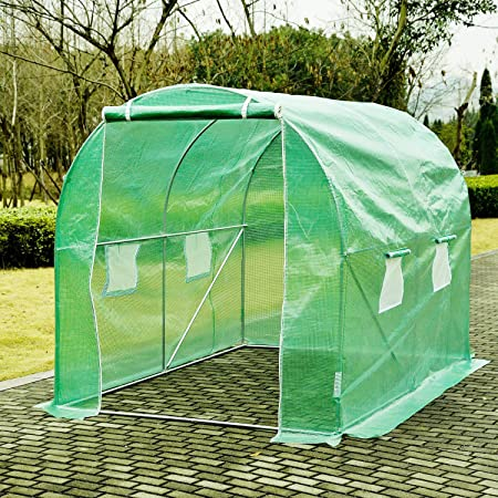 fam famgizmo 3mx2m Fully Galvanised Steel Greenhouse Frame Poly Tunnel Polytunnel Tunnel 6 m/² Area 2M Height 6 Windows 2 Doors 3 Sections