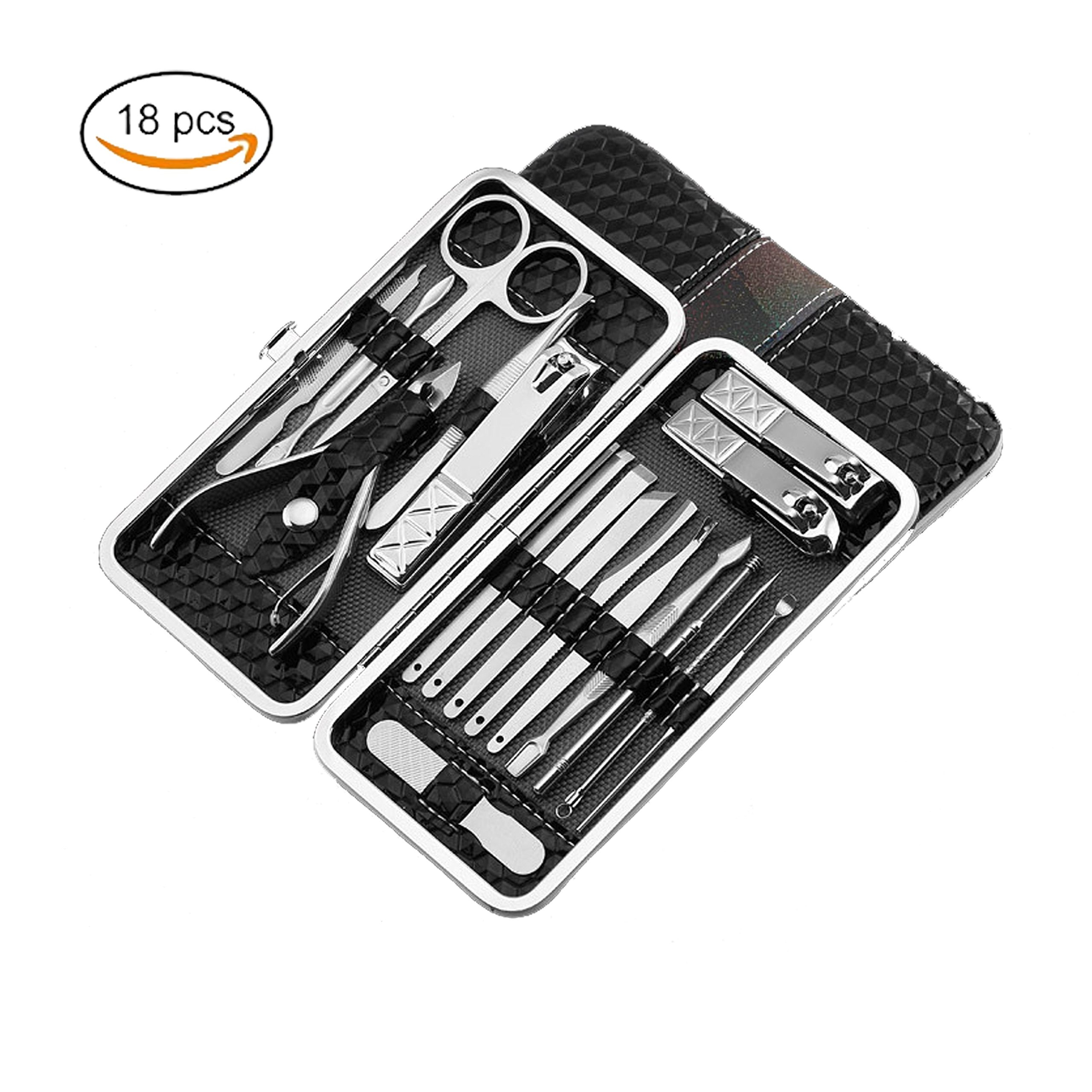 Manicure Set Nail Clipper Kit DOROIM Stainless Steel Manicure Pedicure with Leather Case,Professional Hygiene Kit Nail Tools with Portable Travel Case Beauty Care Tools (black)