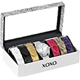 XOXO Women's XO9062 Silver-Tone Watch with Interchangeable Bands