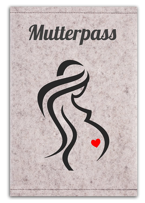 Mutterpass H/ülle aus 100/% Wollfilz f/ür den deutschen Mutterpass in Deutschland gefertigt Frau