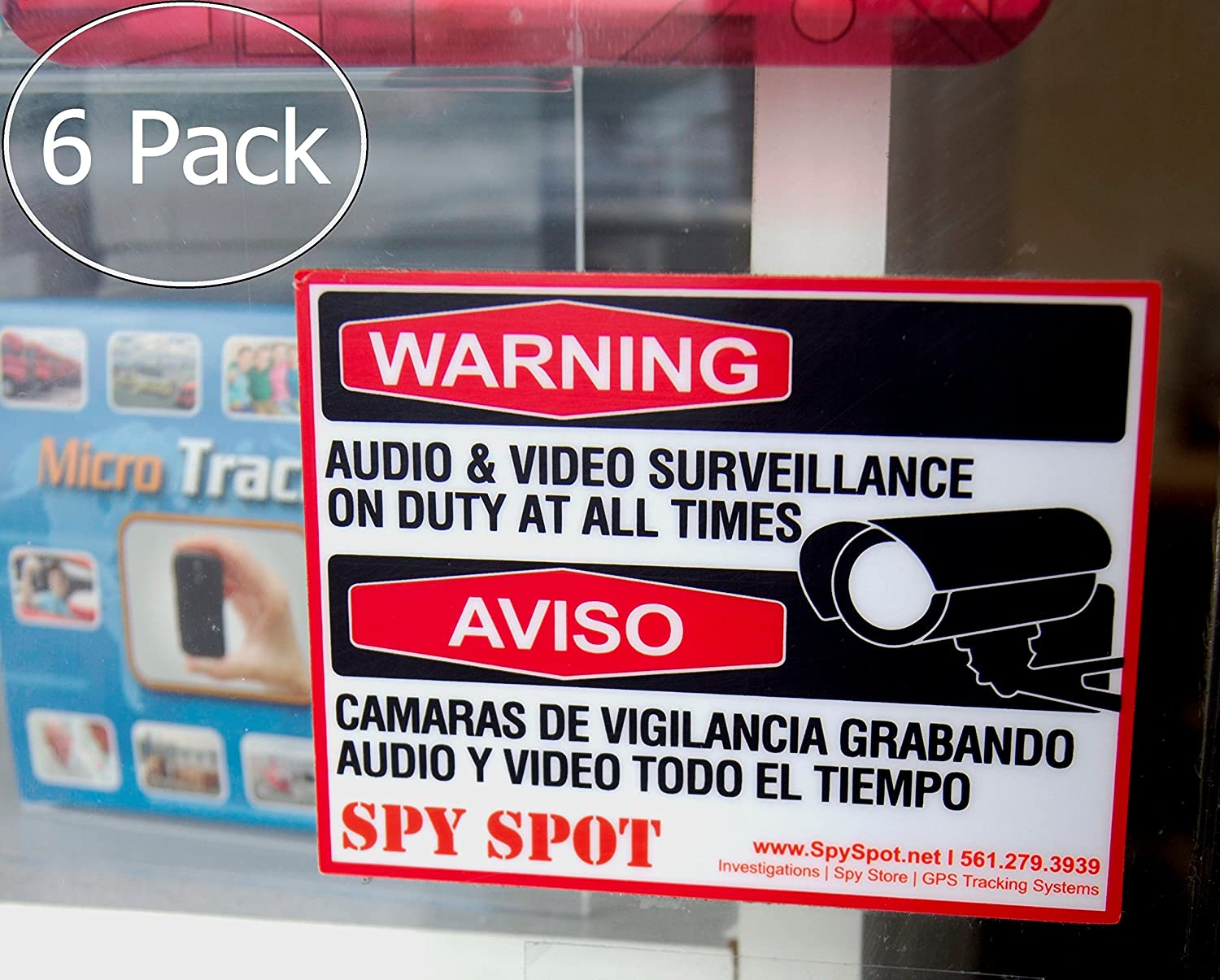 6 Pack Decal Self Adhesive Audio & Video Sign Vinyl Weatherproof Resistant CCTV Surveillance Stickers English/Spanish Security Logo: Amazon.com: Industrial ...