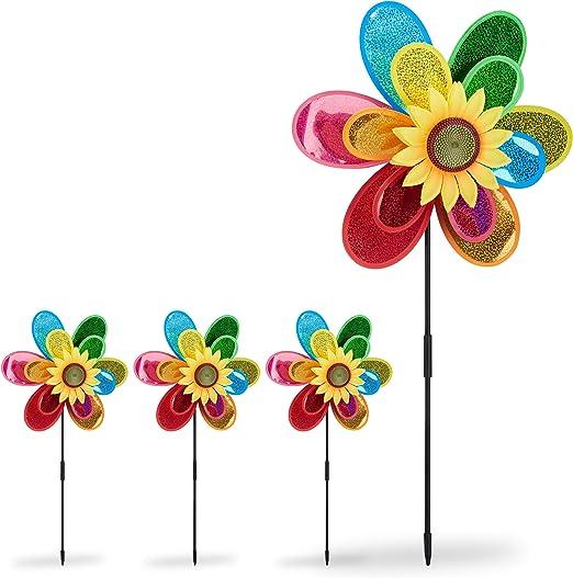 Relaxdays Pack de 4 Molinillos de Viento Forma de Flor para Jardín y Terraza, Poliéster, Multicolor, 74, 5 x 37, 5 x 14 cm: Amazon.es: Jardín