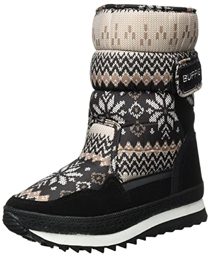 Sibba Schneestiefel Thermostiefel wasserdichte Stiefel mit Nylongewebe gefüttert für Damen und Mädchen (EU36/CN35 Fußlänge:225 (Kinder), Grau)