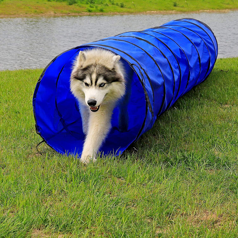Blue 500 x 60 cm dibea DT10062 Dog Tunnel//Play Tunnel//Dog Den//Agility Tunnel Blue Size L