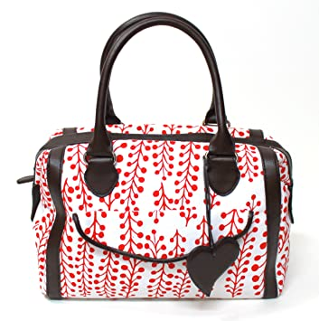 2e77f27bd10 CACHAREL WHITE WITH RED PATTERN DESIGN HAND BAG NEW: Amazon.co.uk ...