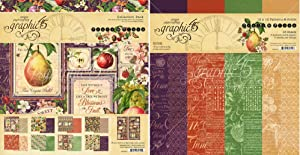 Graphic 45 Fruit & Flora Collection Pack and Patterns & Solids Pad - 12x12 Decorative Papers - 2 Items