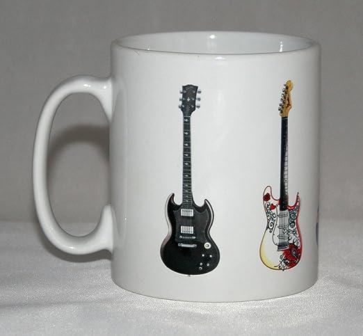 Taza de guitarra eléctrica. 5 Guitarras famosa roca. Ilustraciones de SG, Fender, Epiphone y Gibson.: Amazon.es: Hogar