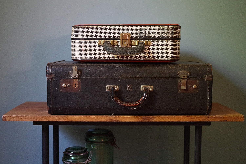 Vintage retro suitcase 40 years-black and white geometric motifs-midcentury trunk Bohemian Deco