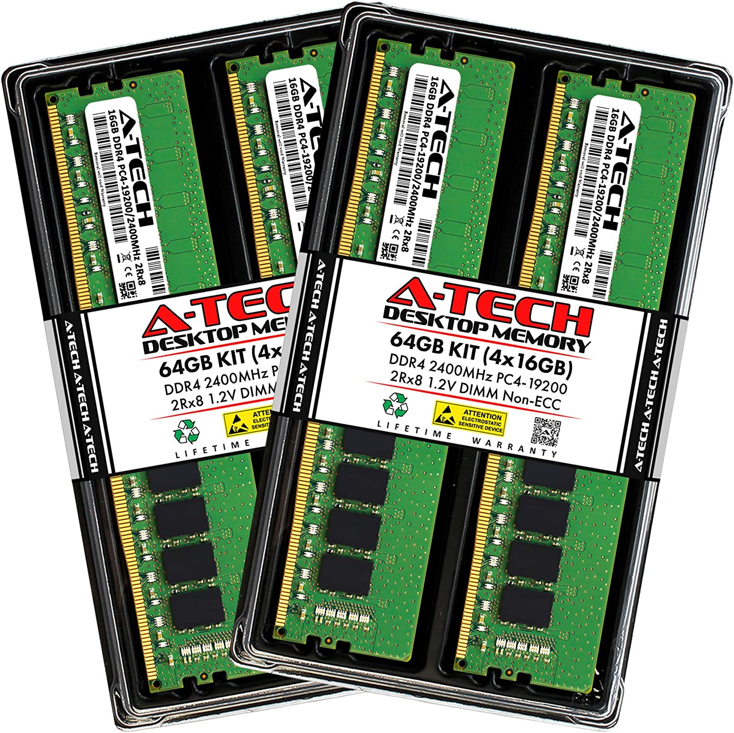 A-Tech 64GB (4x16GB) DDR4 2400MHz DIMM PC4-19200 UDIMM Non-ECC 2Rx8 1.2V CL17 288-Pin Desktop Computer RAM Memory Upgrade Kit