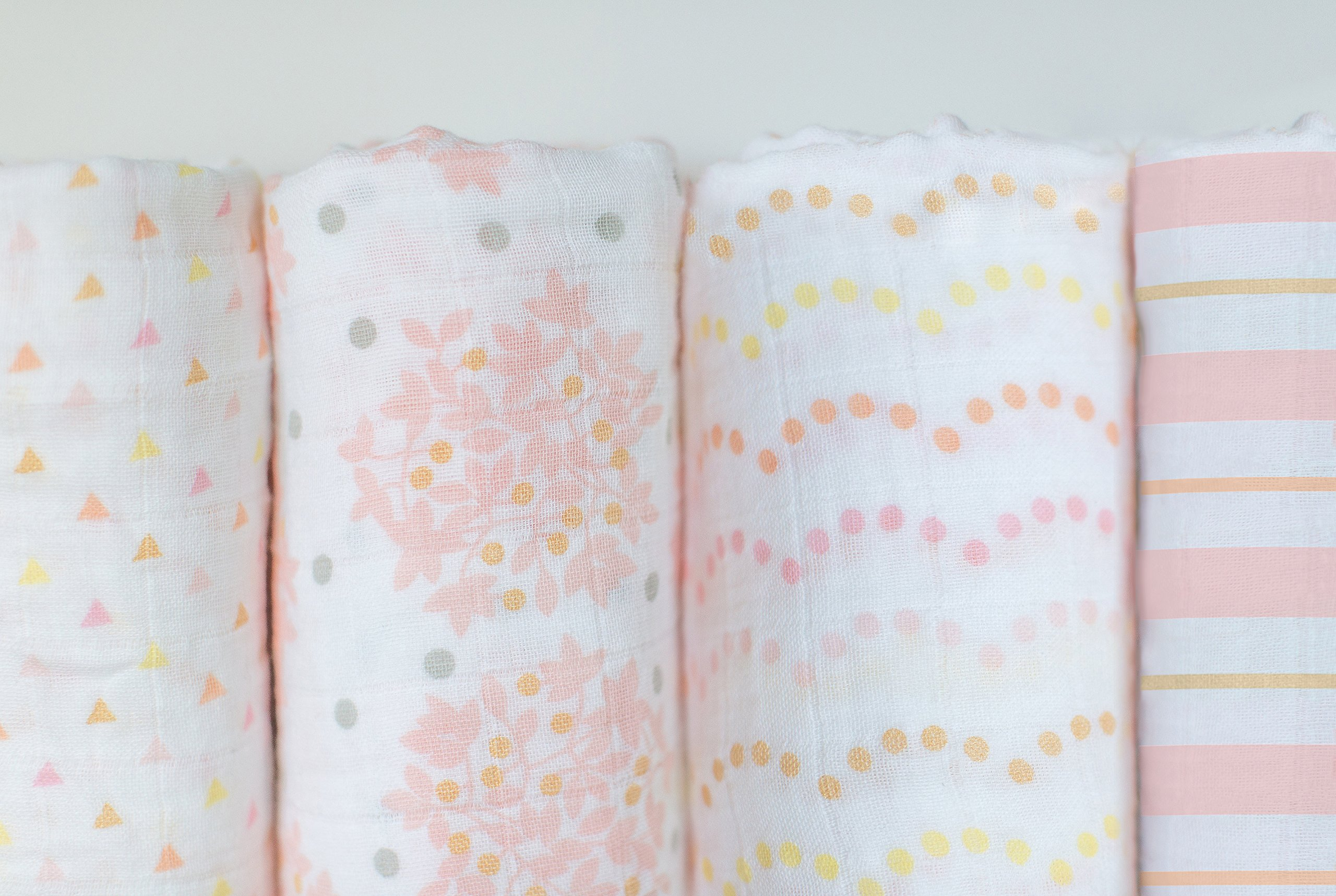 SwaddleDesigns Cotton Muslin Swaddle Blankets, Set of 4, Pink Heavenly Floral by SwaddleDesigns (Image #3)